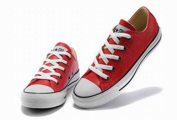 converse rouge cuir homme